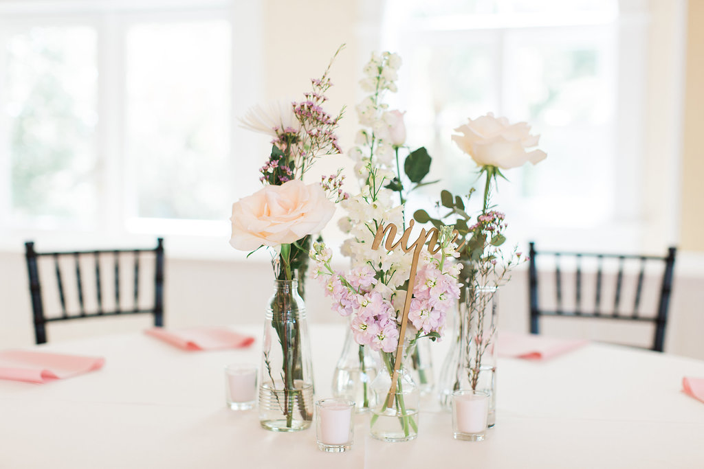 wedding floral arrangement photo by Apt. B Photography