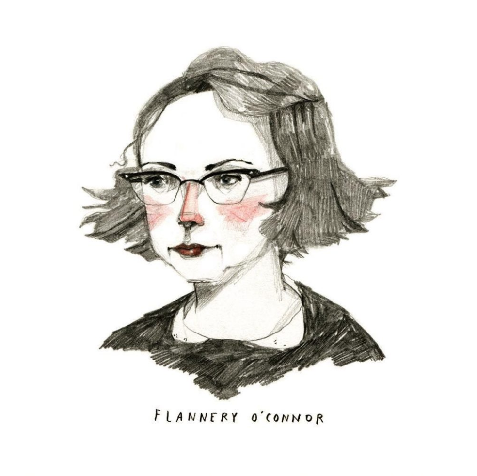 Lucky Savannah Flannery O'Connor illustrated portrait drawing by Abigail Halpin