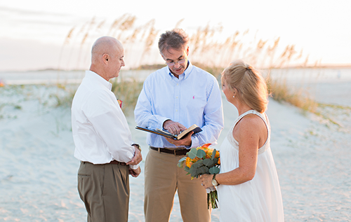 eloping couple on Savannah's Beach Tybee Island
