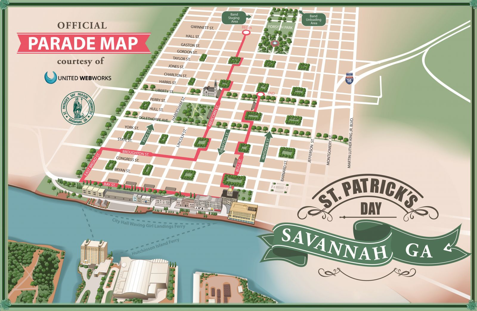 St. Patrick's Day Savannah Parade Map